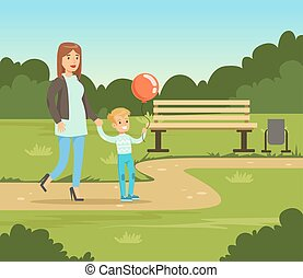 Mother and her son walking in summer park outside, family leisure vector illustration