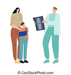 Mother and her son with arm in gypsum loking at doctor and ...