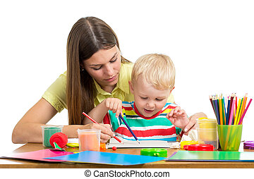Mother and kid boy play together
