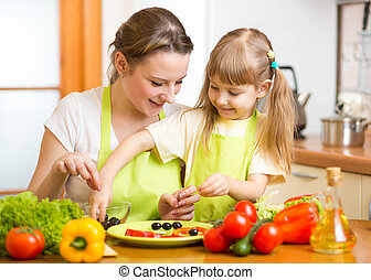 mother and kid daughter cooking in the kitchen