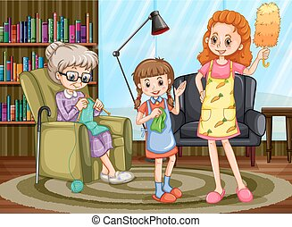 Mother and kid doing chores illustration