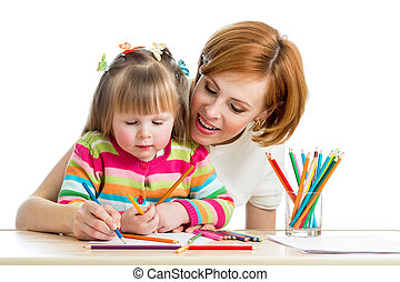 mother and kid girl draw together