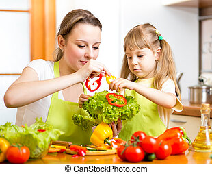 mother and kid having fun at kitchen