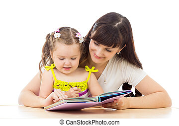 mother and kid read a book