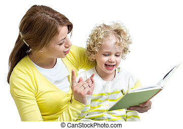 mother and kid read a book together