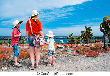 Mother and kids hiking in Galapagos