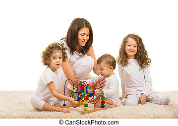 Mother and kids playing home