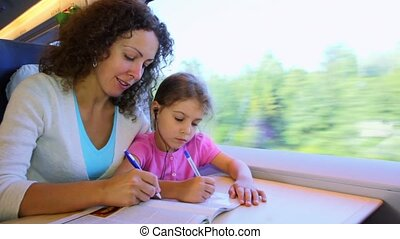 Mother and little daughter draw by pens when sit at train