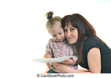 mother and littler girl isolated