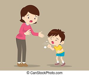 Mother and Sick boy coughing hard, Sick Child blow the nose and coughing show his mom.