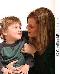 Mother and Small Boy - Mother with preschool boy against...