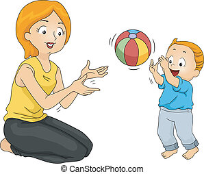 Mother and Son Bonding - Illustration of a Mother Playing...