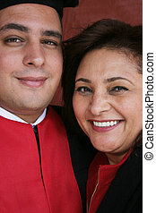 Close crop portrait of happy mother and son