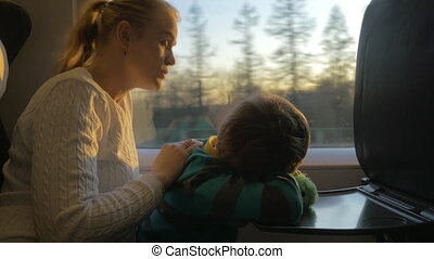 Mother and son commuting by train