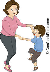 Mother and Son Dance - Illustration of a Mother Dancing with...
