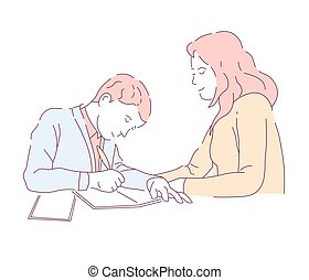 Mother and son doing school homework assignment in writing -...