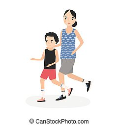 Mother and son dressed in sportswear running or jogging together. Parent and child taking part in marathon. Cartoon characters isolated on white background. Flat colorful vector illustration.