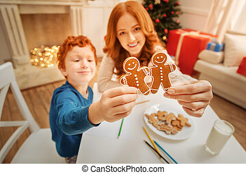 Mother and son enjoying christmas time together