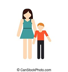 mother and son family reunion vector illustration eps 10