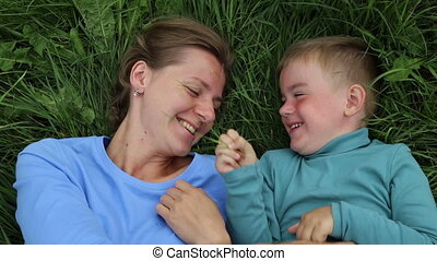 Mother and son fooling around. Happiness and love of mother...