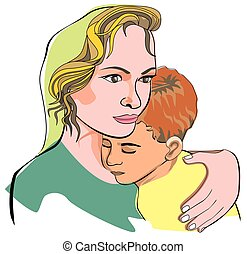 Mother and son, illustration - Mother and son, mother...