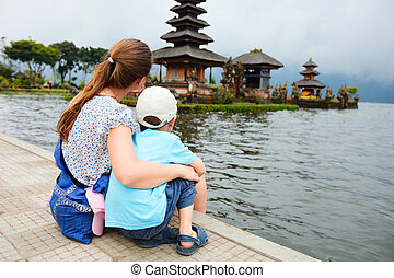 Mother and son in Bali - Mother and son enjoying views of ...