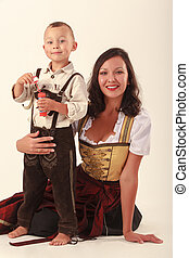 Mother and son in Bavarian costum