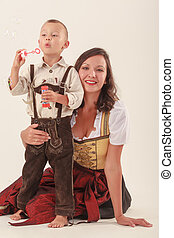 Mother and son in Bavarian costume