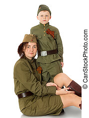 Mother and son in fatigues