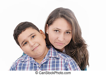 Mother and son - isolated over a white background