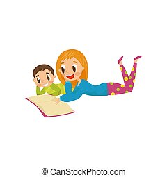 Mother and son lying on the floor and reading a book, family, early development concept vector Illustration on a white background