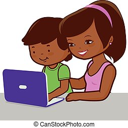 Mother and son on the computer