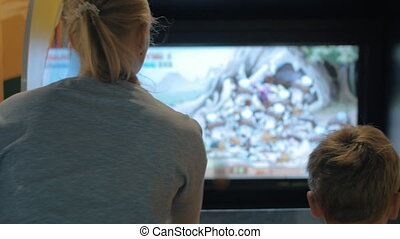 Mother and son playing on amusement machine - Mother and...