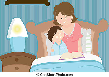 A vector illustration of a mother reading a bedtime story to her son