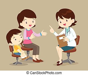 Mother and son see female doctor - Vector illustration of a ...