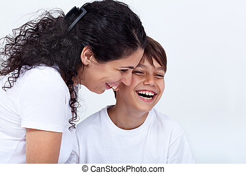 Mother and son sharing a funny moment