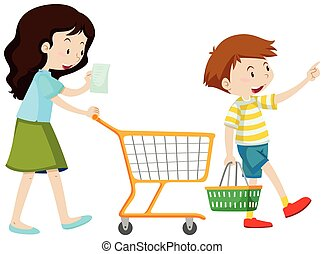 Mother and son shopping