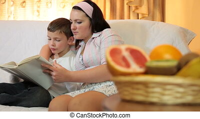 Mother and son spend free time together, reading a book at...