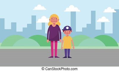 mother and son standing in the street city
