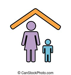 mother and son stay at home line and fill style icon vector illustration design