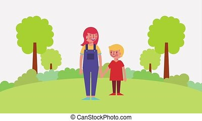 mother and son talking in the park