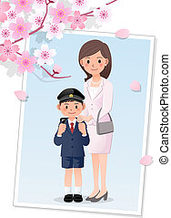 Mother and son under cherryblossom - Mother attending her...