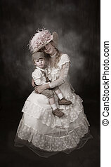 Mother and Son Victorian Era black and white photo
