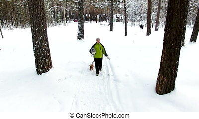 Mother and son walk in the winter forest. Aerial shoot