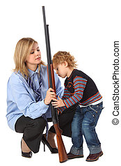 Mother and son with gun