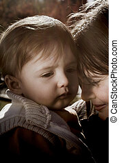 sad expression - mother and son with sad expression