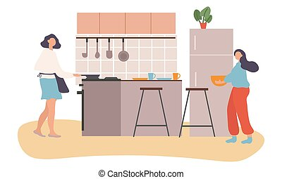 Mother and teenage daughter cooking together