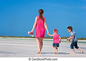 Mother and two kids on vacation