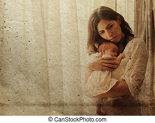 mother and young daughter in home i