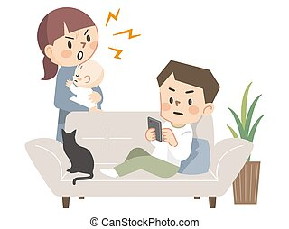 Mother angry with her father lying on the sofa